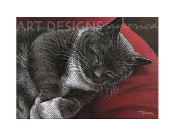 ACEO Sleeping Black and White Cat, Archival Art Print, Pastel Cat Drawing, Cat Print, SFA Small Format Art, Artist Trading Card, ADA-P329