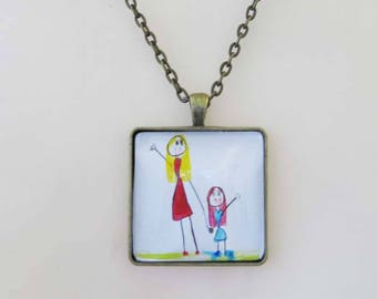 Family Necklace,  Kid's Artwork Necklace, Personalized Keepsake Necklace, Custom Children Drawing Jewelry, child art necklace