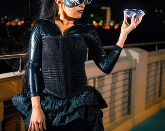 Catwomen Inspired Corset, Steampunk, Victorian, Western, Wild West, Cosplay, Superhero, Pin Up, Vintage, Ren Fair, Renaissance Festival