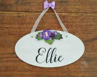Personalised Name Wooden Hanging Sign Plaque Door Sign Girls Bedroom Decor Flower Art Nursery Room Art, Residential Home Door Plaque