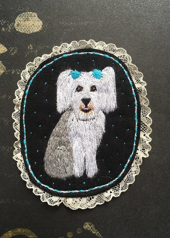 Textile Pet Portrait Brooch - The Old English Sheepdog -  Funny Dogs - collection, hand embroidered textile dog jewelry