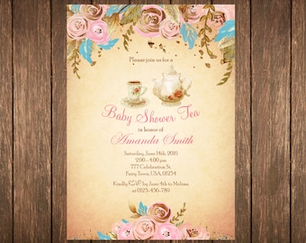 Baby Shower Tea Party Invitation, Tea Party Shower Invite, Baby Girl Shower, Floral Baby Shower, Vintage Baby Shower, Vintage Tea Party
