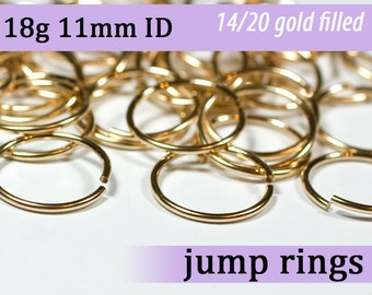 18g 11.0mm ID gold filled jump rings -- goldfill jumprings 18g11.00 links