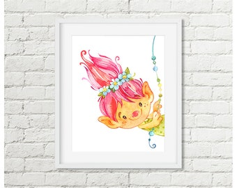 Troll Room Decor, Peeking Troll Printable Wall Art, Peekaboo Trolls Pink Nursery Watercolor Fun Art For Girls Digital Download