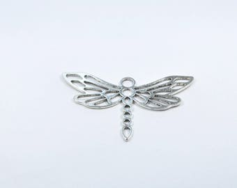 BR816 - large silver metal Dragonfly charm
