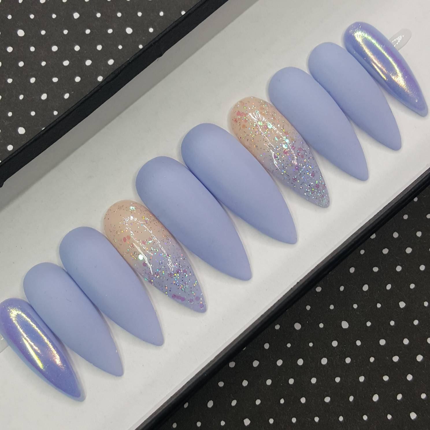 BABY BLUES Matte Blue Press on Nails Fake Nails Custom Glitter Nails ...
