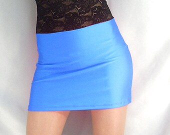 High waisted turquoise shiny spandex mini skirt with black lace top