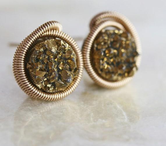 Druzy Stud Earrings - Gold Druzy Stud Earrings -