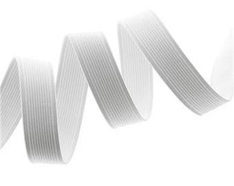 White ribbed elastic Ribbon, width 30 mm, sold by the yard