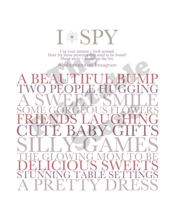I-Spy Baby Shower Printable. PDF. Download. Baby girl. Baby boy. Shower  games. Event planning. Decor. Personalized. Instagram.