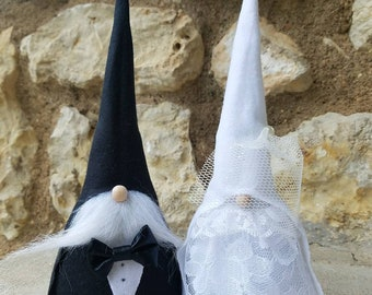 Bride & Groom gnome set, Tomte, Nisse, garden Gnome, tomte nisse, Swedish Gnome, wedding gift, engagement gift, bride decor, groom decor