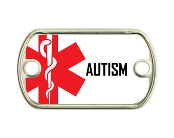 Autism Medical Alert 2 Holes Stainless Steel Mini Dog Tag For Paracord Bracelets