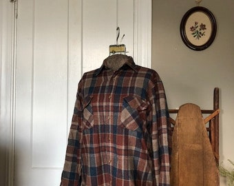 1980s Brown and Blue Flannel