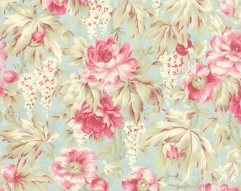 Quilting Cotton fabric | 3 Sisters Favorite | Rose Pink blue Sea Glass Roses 3768 14