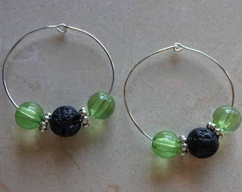 Black lava stone diffuser earrings - Green