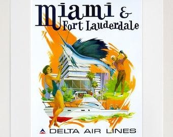 Florida Art Wall Decor Miami Fort Lauderdale Retro Travel Poster  (ZT677)