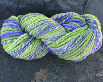 Handspun & Handpainted Merino Wool Yarn, 4 oz, 120 g., 175 yds - Wild Iris - Super Bulky Weight - Purple, Green
