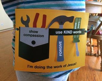 Vacation Bible School Craft - Instant Download - Sunday School Craft - Tool Belt Craft - Christian School Craft - Religious Craft