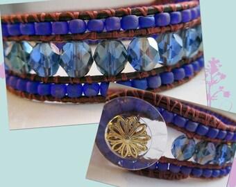 Fire Polished Leather Bracelet