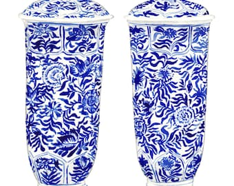 hydrangeas art blue white ginger jar print chinese vase print