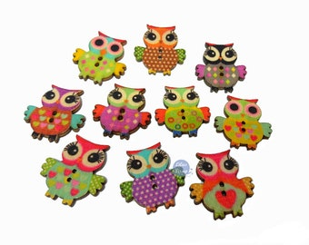 10 owls owls painted 2.3 cm - 2 holes wood buttons