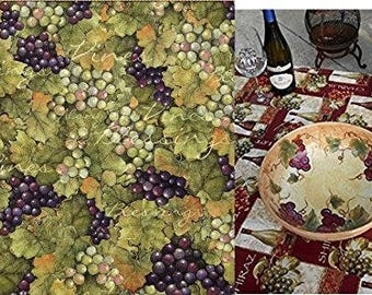 Custom Fitted, Stay Put, Napa Wine Grape Vines Print Tablecloth. Perfect for the wine lover's table. Napa Wine Table Cover.