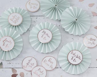 Baby Shower Badges - Mum to be - Aunty to be - Godmother to be - Rose gold & Mint Badges - photo props - NK0110