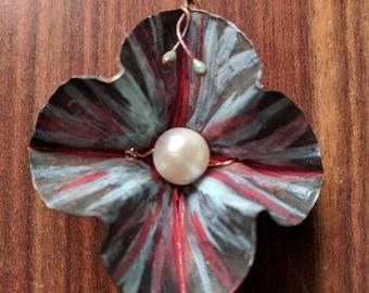 Fireworks Flower Pendant with Pearl Center - Foldformed Copper, Handpainted Patina, Torchfired Enamel Tendrils, Original Design. Handmade.