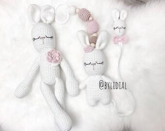 Crochet Bunny Rabbit Toy Stroller Pacifier Holder Clip Set  Amigurumi Baby shower Christmas Birthday gift Easter