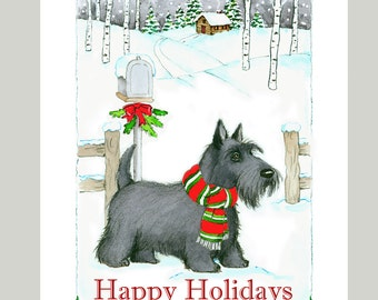 Scottish Terrier Christmas Cards, Box of 16