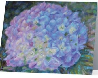 Purple Hydrangea Note Cards Set of 5 with Envelopes