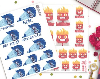 Inside Out Sadness & Anger Planner Stickers  | Sad | Emotions | Pixar | Chores | Adulting | Funny | Nope