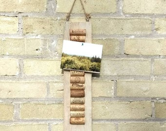 Wine cork message board, cork board, note board, pallet decor, rustic upcyled, wall hanging, wine lover, gift for her