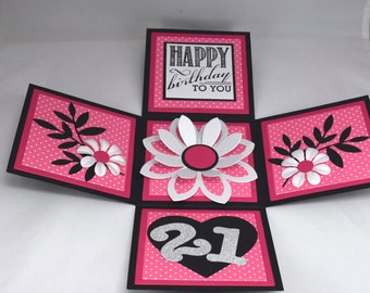 3D Pink and Black Floral Birthday Card, Explosion Box Card, Age Card