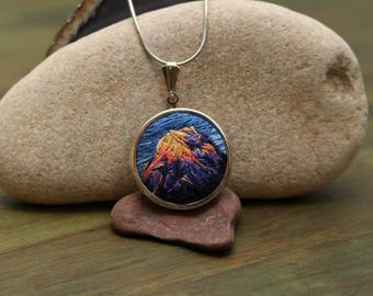 Mt Rainier Hand Stitched Embroidered Pendant | Mountain Necklace| National Park Embroidered Necklace | Hiker Gift