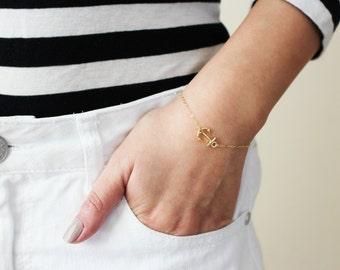 Sideways Anchor Bracelet / Gold Anchor Bracelet / Dainty Bracelet Gold / Anchor Bracelet / Bridesmaids Bracelet