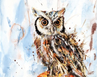 """Wise Old Owl with Pumpkin Original Watercolor 10"""" x 14"""" FREE SHIPPING!"""