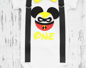 Baby first birthday Mickey Incredible themed cake smash outfit boy Mickey Mouse 1st birthday one year bow tie onesie  boy birthday shirt