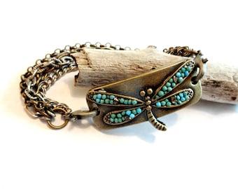 Dragonfly Jewelry, Dragonfly Bracelet, Turquoise Dragonfly Bracelet, Brass Boho Multi Strand Chain Bracelet, Cool Jewelry, Remembrance Gift