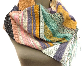 Noah   pidge pidge Woven Saffron & Mint Scarf   Handwoven Heirloom Textile   Vibrant Luxe Gifts for Her   Striped Statement Accessory