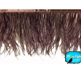 Ostrich Feathers, 6 Inch Strip - BROWN Ostrich Fringe Trim feather : 3517