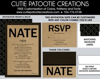 Bar Mitzvah Invitations, Bar Mitzvah Invitation, Envelope Addressing, Reply Card, Save the Date, Thank You Notes, Custom Colors Available