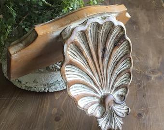 Vintage Large Wood Sconce Carved Wood Seashell Sconce Wood Corbel