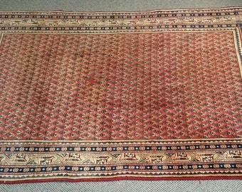 "Vintage Persian Rug 1960's ARAK 4' 1"" x 6' 7"" Handmade, Hand-knotted, Natural Dyes, Bohemian, Boho Chic, Made in Iran 333m"