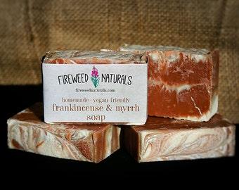Frankincense & Myrrh Soap Bar - Vegan Friendly, Cold Process