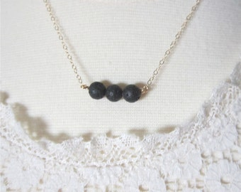 Essential oil necklace, lava rock necklace, black lava beads,diffuser necklace,  delicate modern jewelry