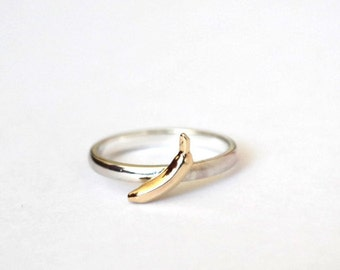 Banana Ring, Sterling Silver, 9ct Yellow Gold Banana Ring, Handmade, Food Ring, Fruit Ring, RockCakes
