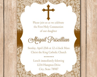 Girl First Communion Invitation | Baptism - 1.00 each printed