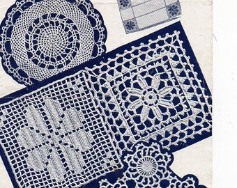 vintage crochet pattern pdf download crochet motif bedspread thread crochet dinner mats dressing table set tray cloth square / round motif