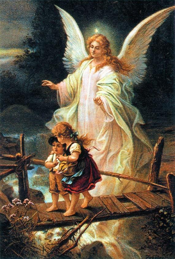 Ángel de la guarda con niños cruzando puente católica lona
